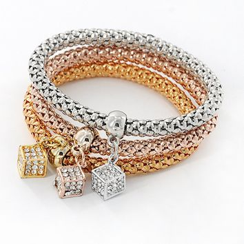 Casual Cube Rhinestone Pendant Three Pieces Bracelets