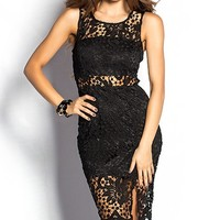 Tamara Black Sheer Cut Out Crochet Lace Sheath Dress
