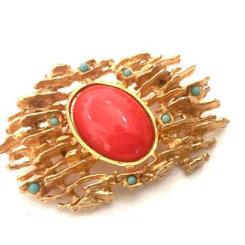 Hattie Carnegie Multi-Color Brutalist Brooch, Large Oval Coral Resin Cabochon, Tiny Turquoise Cabs, Vintage Statement Pin, Designer Signed