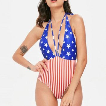 Fancinating Women Swimwear American Flag Swimsuit Beachwear Push-up Bikini Bathing Attractive Women's Swimsuits Bodysuit Biquini