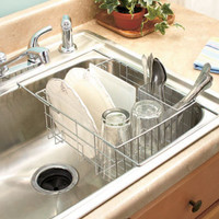 Chrome Expandable Sink Dish Drying Drainer Rack w/ Utensil Basket Holder NEW