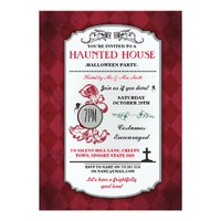 Halloween Haunted House Party Spider Grave Invite