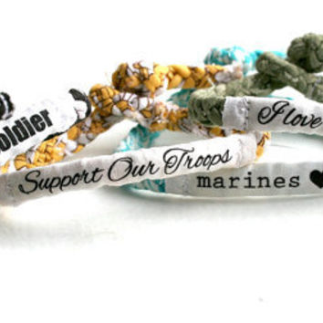 Personalized Military Support Bracelet - Army, Marines, Air Force, Navy, Soldier Wife, Girlfriend, Fiance (women, teen girl)