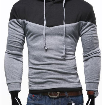Color Block Drawstring Hood Long Sleeves Hoodie