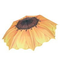 LOCOMO Women Girl Sunflower Wave Edge 8 Panel Compact Folding Umbrella FAF072