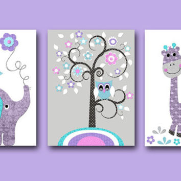 Baby Girl Nursery Art Print Nursery Print Kids Art Kids Wall Art Kids Rooom Decor Children Art Elephant Giraffe Lavender Rose set of 3 8x10