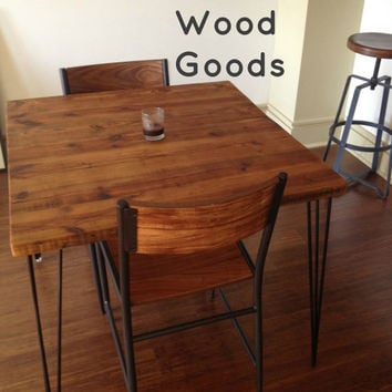 "Small Table with reclaimed wood top and Hairpin legs. 30"" L x 30"" W x 30"" tall, seats 2.  1.65"" top"
