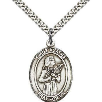 "Saint Agatha Medal For Men - .925 Sterling Silver Necklace On 24"" Chain - 30 ... 617759595031"