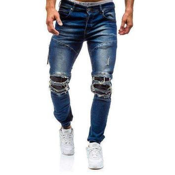 ONETOW men skinny distressed jeans hole denim jeansripped biker jeans trousers medium washed streetwear hip hop pants