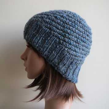 Hand-knit, Spiral Rib, Chunky, Slouchy and Textured Beanie Hat in 'Denim Blue'