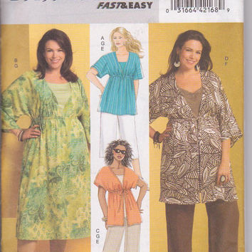 Loose fitting dress or tunic with empire waist, pants, capris, and tank top pattern womens size 18w 20w 22w 24w Butterick 5195 UNCUT