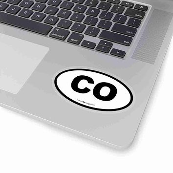 Colorado CO Euro Oval Sticker BLACK