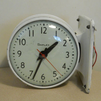 Industrial Decor Clock / Very Heavy White Iron / Large / Vintage 60s / Hanging Wall / Wiring / Two Sided
