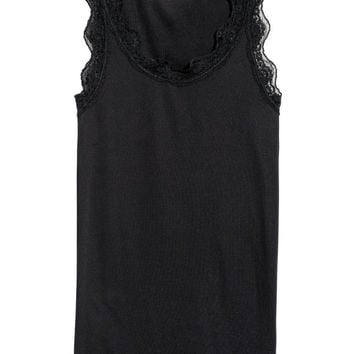 Ribbed Lace-trimmed Tank Top - from H&M