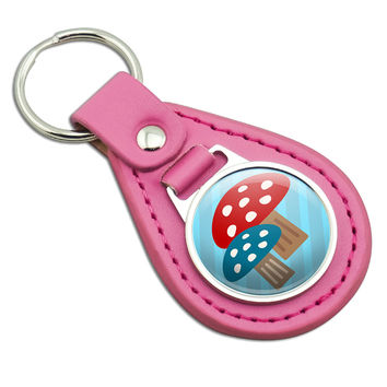 Woodland Mushrooms Pink Leather Keychain