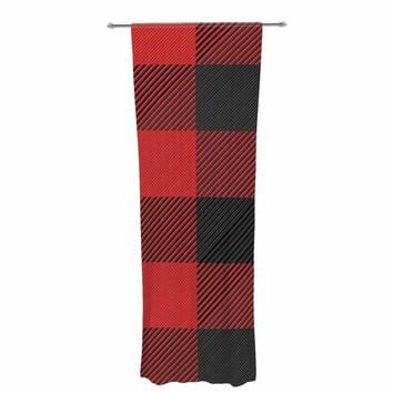 "Kess Original ""Black And Red Plaid"" Black Red Pattern Digital Decorative Sheer Curtain"
