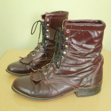 Vintage - Burgundy - Distressed Leather - Lace Up - Laredo - Kiltie - Roper Boots - Mens 8 - Womens 10