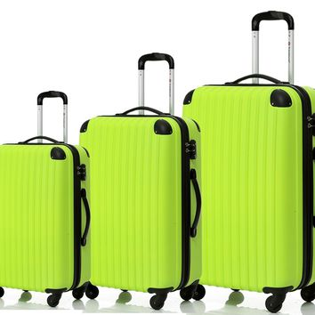 Merax Travelhouse 3 Piece PC+ABS Spinner Luggage Set with TSA Lock