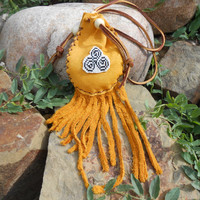 Medicine Bag with Celtic Trinity Spiral Bead Design, Leather Beaded Pouch, Native American, Handmade, Celtic Inspired