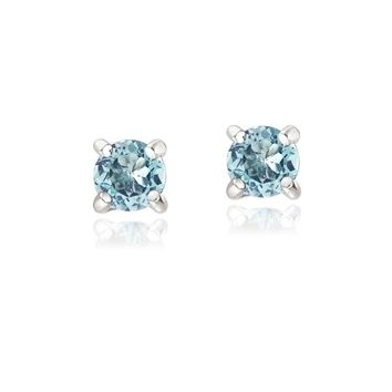 925 Silver .5ct Blue Topaz Round Stud Earrings, 3mm