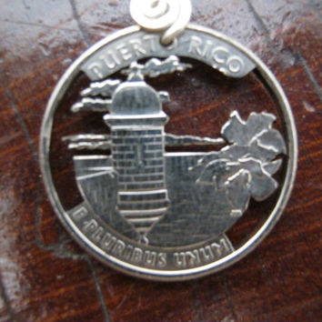 Puerto Rico Necklace, State Quarter, Hand cut coin