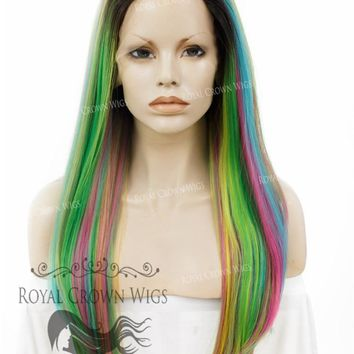 "24 inch Heat Safe Synthetic Straight Texture Lace Front ""Aphrodite"" in Space Rainbow"