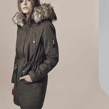 Khaki Luxe Parka - Miss Selfridge