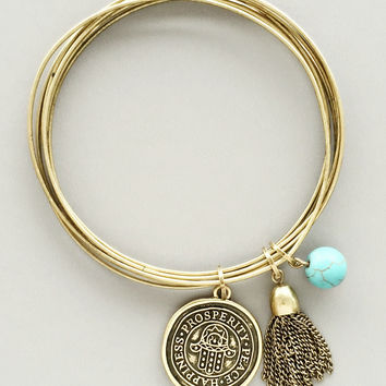Brushed Gold Protective Hamsa Bangle