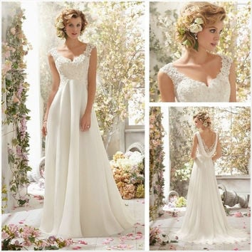 55e2b5b93f Ivory Lace Bridal Gown Beach Spaghetti Straps Sweetheart Lace Floor Length  Wedding Dress 2015 = 1932689412
