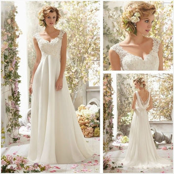 Ivory Lace Bridal Gown Beach Spaghetti Straps Sweetheart Lace Floor Length Wedding Dress 2015 = 1932689412