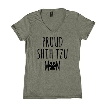 Proud Shih Tzu Mom Shirt Shih Tzu Dog Breed Puppy V-Neck T-Shirt