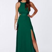 Missguided - Anthea Cut Out Split Maxi Dress Emerald