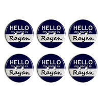 Rayan Hello My Name Is Plastic Resin Button Set of 6