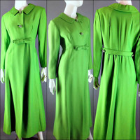 Vintage 60s Man Men Cocktail Maxi Dress Coat Mod Green Princess Coat Rhinestone Maxi Evening Opera Coat St. Patricks Day Bow Belted Coat