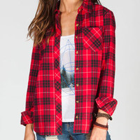 Full Tilt Womens Flannel Shirt Black/Red  In Sizes