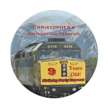 Railroad Train Paper Plates, 9th Birthday, Custom Paper Plate