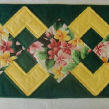 Spring Floral Quilted Table Runner, Hawaiian Table Topper Quilt, Plumeria Frangipani Flowers, Pink, Yellow, Green, Unique, OOAK, Handmade