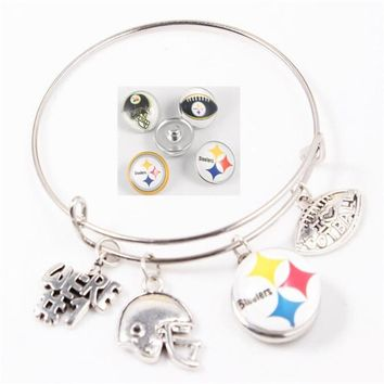 4pcs/lot America love Football 18mm Snap Buttons Bracelets Pittsburgh Steelers Adjustable Bracelets Bangles Jewelry
