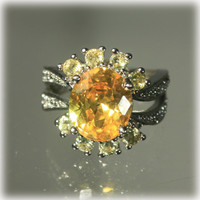 Citrine Ring, Cocktail Ring, Amber Ring, CZ Ring, Yellow Ring, Sterling Ring, Topaz Ring, Size 7 1/2