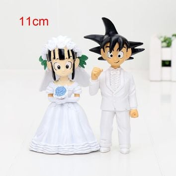 11cm Dragon Ball Z Figure New Japan Anime Dragon Ball Goku ChiChi Wedding PVC Figure Toys