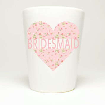 Bridesmaid Pink Heart with Roses Bachelorette Party Shot Glass