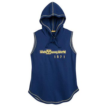 Disney Parks WDW Mickey Blue Women's Sleeveless Hoodie Small New with Tag