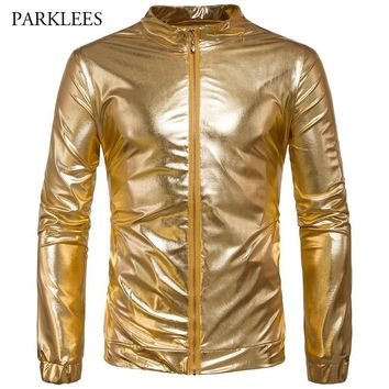 Trendy Night Club Bomber Jacket Men Metallic Shiny Gold Mens Jackets and Coats 2017 New Stage Veste Homme Slim Fit Lightweight Jaqueta AT_94_13