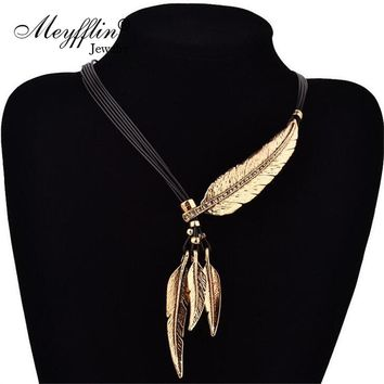 Feather Necklaces & Pendants Rope Leather