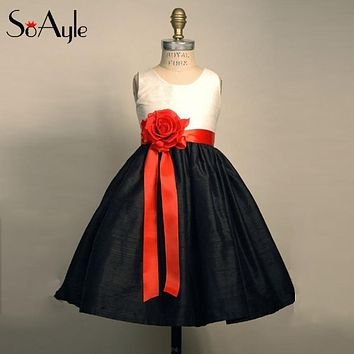 SoAyle A-Line Round Neck Red Sash Flower Girl Dresses Babygirl Teenagers Tea Length Dresses Vestido De Daminha