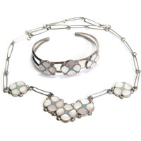 Navajo Mother Of Pearl and Turquoise Necklace Bracelet Set