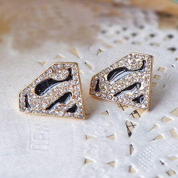 Free Shipping $10 (mix order)  Superman S Logo Triangle Geometric Stud Earrings Jewelry E321