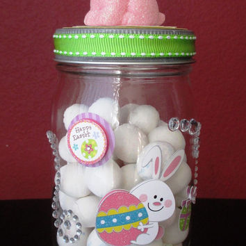 Easter Apothecary Candy Jar ~ Glass Candy Jar on Glass Candle Holder w/ a Pink Bunny on Lid, an Easter Bunny & Crystals on the jar!