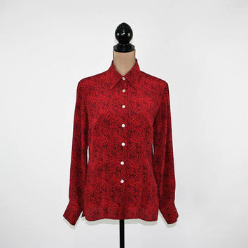 Red Silk Blouse Long Sleeve Button Up Shirt Women Medium Leopard Print Top Red Black Animal Print Blouse Womens Clothing
