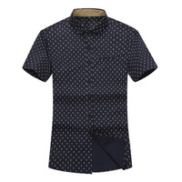 Men's Fashion Casual Grids Polka-dot Business Short-sleeved Dress Shirts